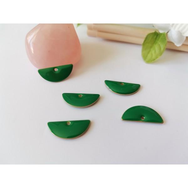 Breloque sequins émail demi rond 18 mm vert foncé x 2 - Photo n°1