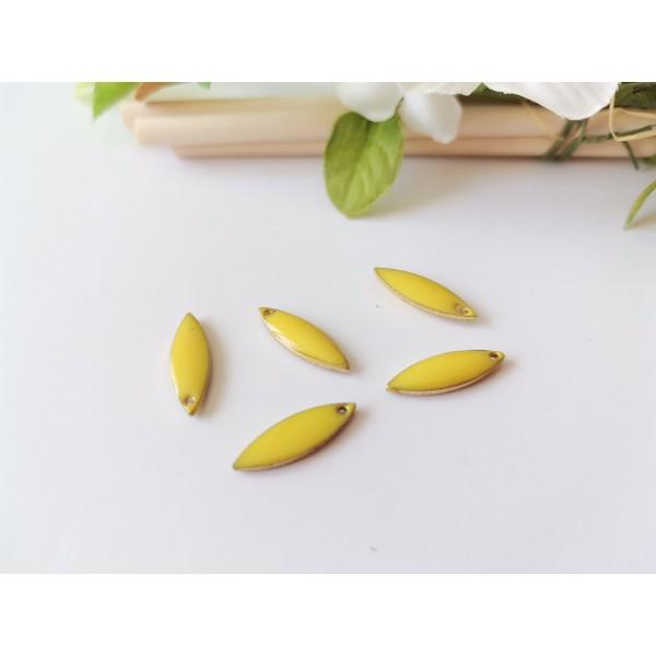 Breloque sequins émail navette 16 mm jaune x 2 - Photo n°1