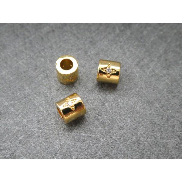 1 Perle Tube dorée avec étoile zircon 6*5mm, cuivre or - Photo n°2