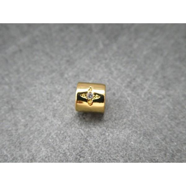 1 Perle Tube dorée avec étoile zircon 6*5mm, cuivre or - Photo n°3