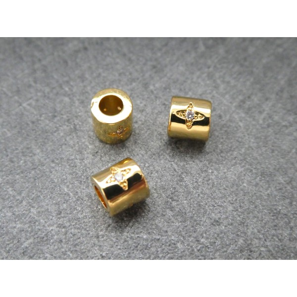 1 Perle Tube dorée avec étoile zircon 6*5mm, cuivre or - Photo n°1