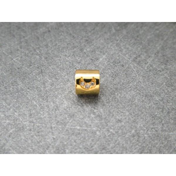1 Perle Tube dorée avec lune zircon 6*5mm, cuivre or - Photo n°2