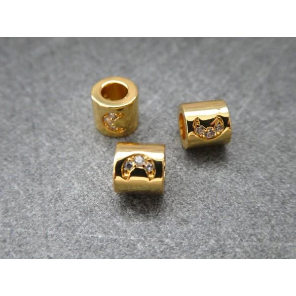 1 Perle Tube dorée avec lune zircon 6*5mm, cuivre or - Photo n°1