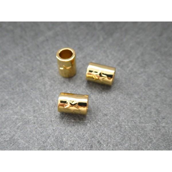 1 Perle Tube dorée avec étoile 8*5mm, cuivre or - Photo n°2