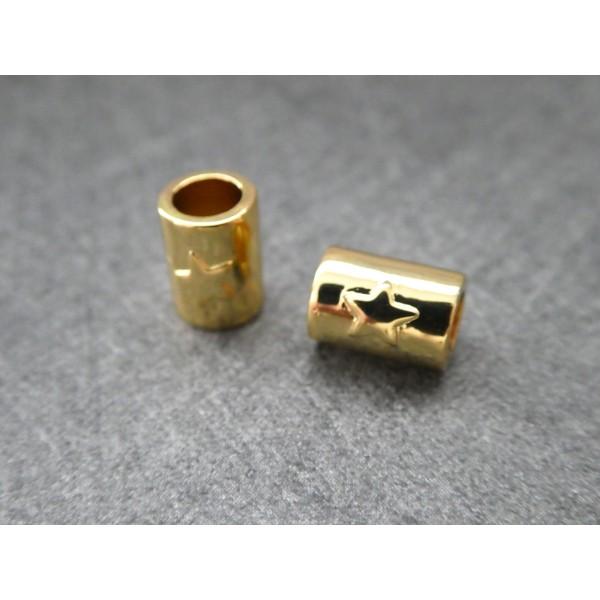 1 Perle Tube dorée avec étoile 8*5mm, cuivre or - Photo n°1