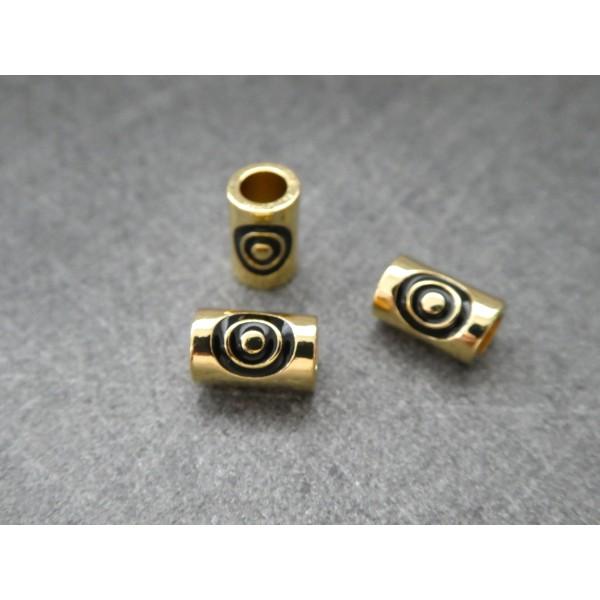 1 Perle Tube dorée avec cercles noirs 9*5mm, cuivre or - Photo n°2