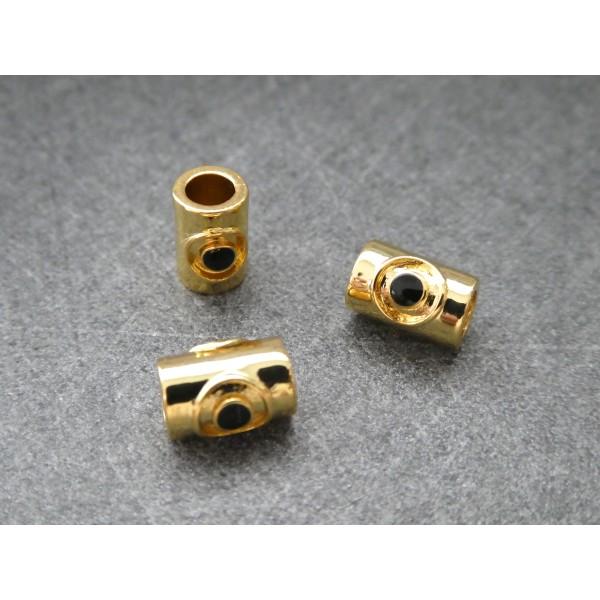 1 Perle Tube dorée avec oeil noir 9*5mm, cuivre or - Photo n°2