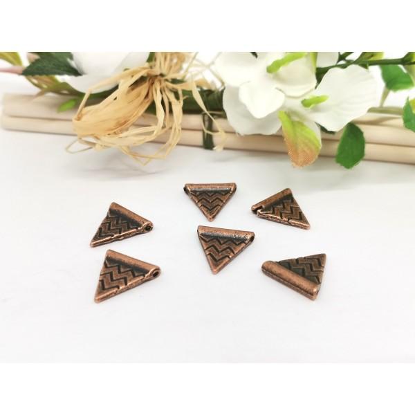Pendentif métal cuivre rouge triangle 14 mm x 2 - Photo n°1