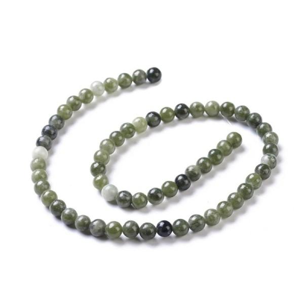 60 Perles pierres gemmes naturelles, Taiwan jade, ronde, olive, environ 6 mm - Photo n°1