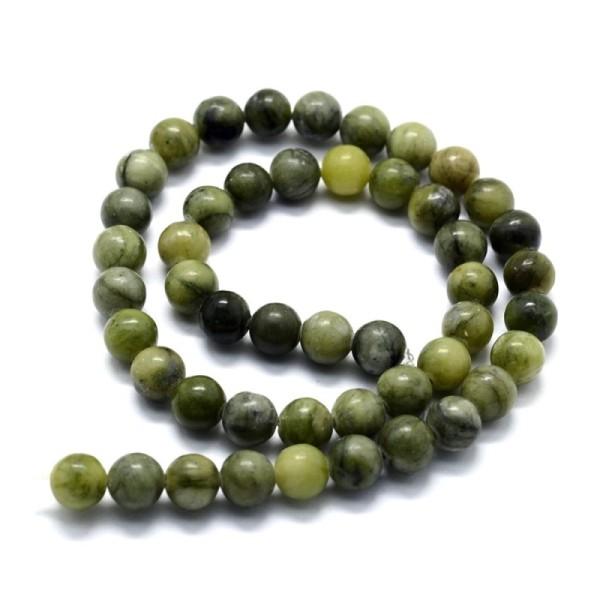 60 Perles en Jade naturel vert 6 mm - Photo n°1