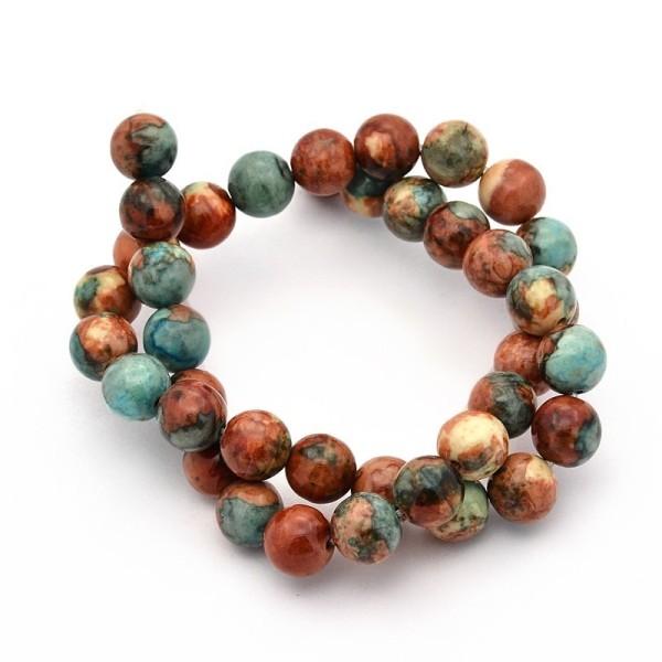 60 Perles jade naturelle semi-précieuse couleur terre 6mm - Photo n°1