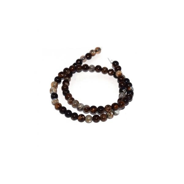 60 Perles marron naturelle semi-précieuse Agate 6mm - Photo n°1