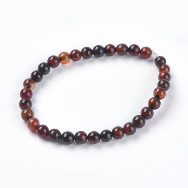30 Perles d'agate naturelle, teinte, ronde, DarkRed, 6mm - Photo n°1