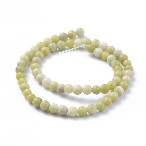 63 Perles en pierre gemme naturelle, Taiwan jade, ronde, vert Darksea, taille: 6 mm - Photo n°1