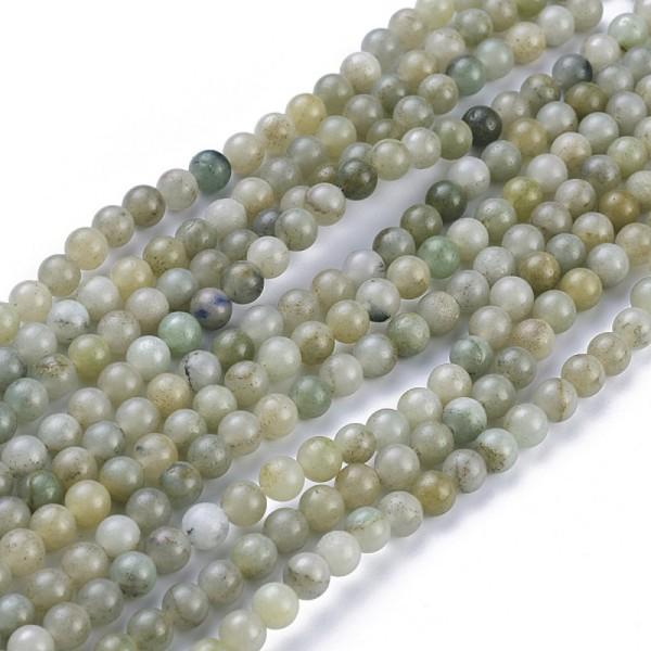 60 perles naturelles de jade du Myanmar/jade de Birmanie 6mm - Photo n°1