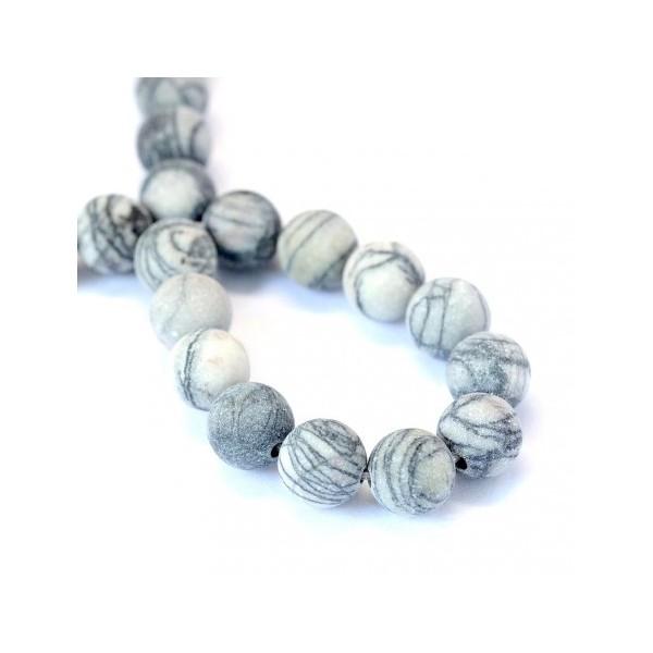 60 Perles en pierre de soie noire/pierre nette 6mm - Photo n°1