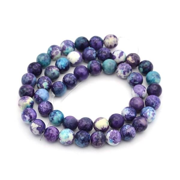60 Perles jade naturelle semi-précieuse teint, violet 6mm - Photo n°1