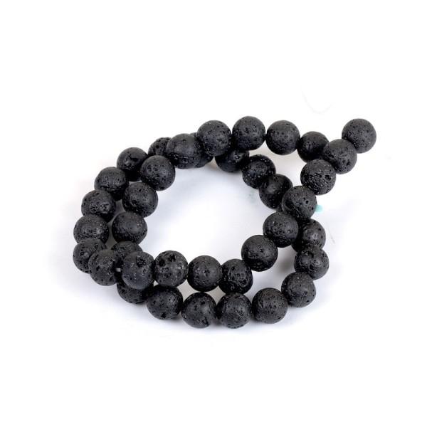 35 Perles en Pierre de Lave Noir 10 mm - Photo n°1