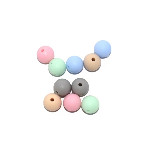 Perle silicone 12 mm camaïeu pastel x10 - Photo n°1