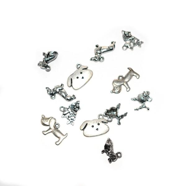 Assortiment breloques/pendentifs thème chien argenté x20 - Photo n°1
