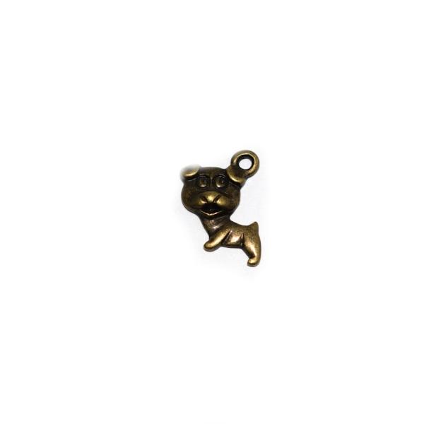 Breloque chien 16x15mm bronze - Photo n°1