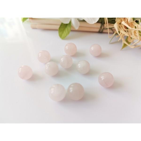 Perles quartz 10 mm rose pale x 9 - Photo n°2