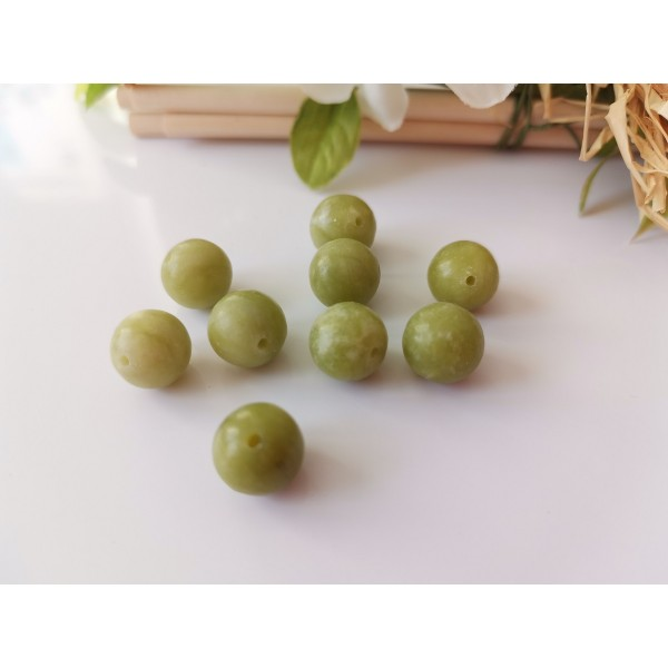 Perles jade 10 mm vert olive x 10 - Photo n°1