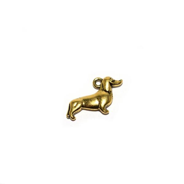 Breloque chien teckel 18x14mm doré - Photo n°1