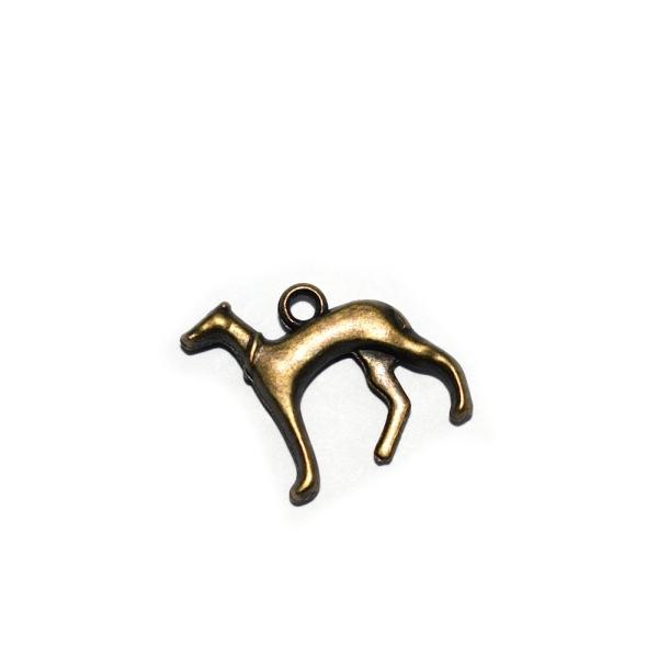 Breloque chien lévrier 18x18mm bronze - Photo n°1