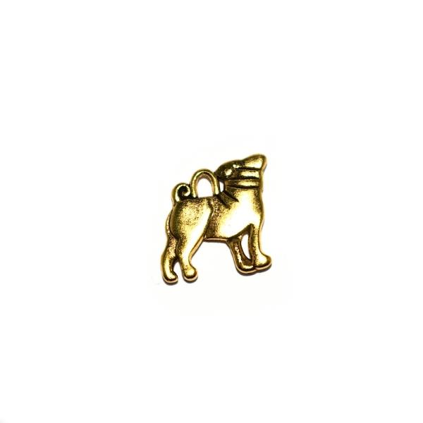 Breloque chien bouledogue 18x16mm doré - Photo n°1