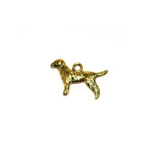 Breloque chien de chasse 22x17mm doré - Photo n°1