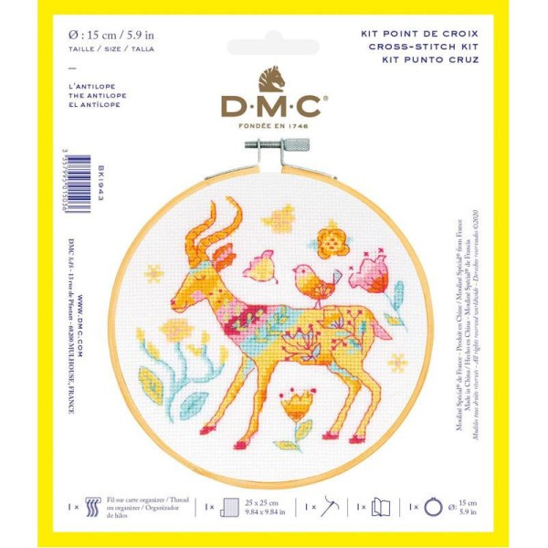 Kit broderie point de croix + tambour - Antilope - Ø 15 cm - Photo n°1