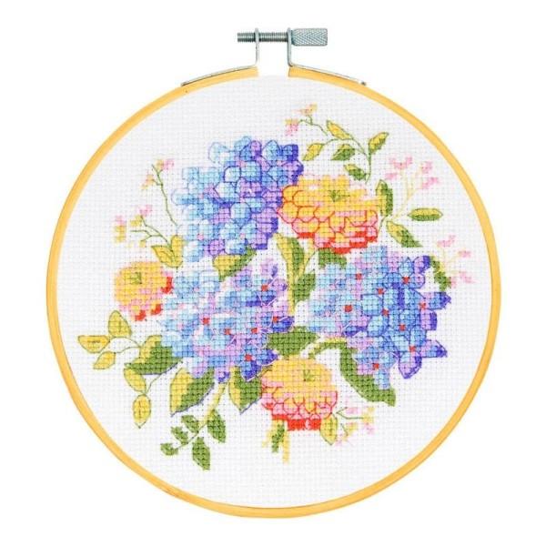 Kit broderie point de croix + tambour - Fleurs d'été - Ø 15 cm - Photo n°2