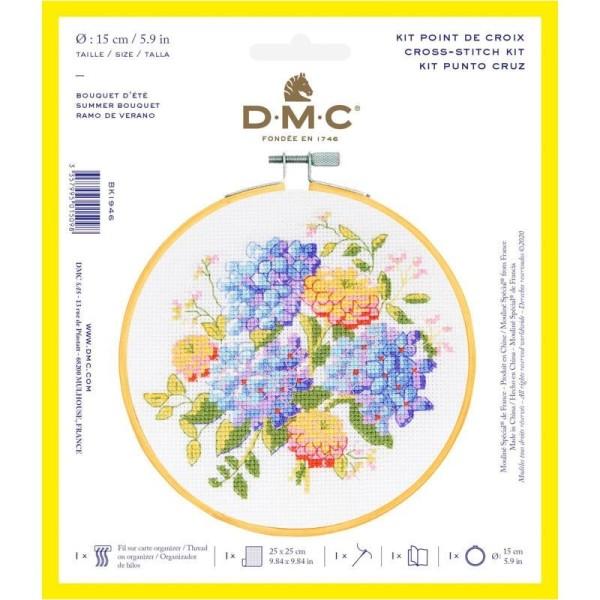 Kit broderie point de croix + tambour - Fleurs d'été - Ø 15 cm - Photo n°1