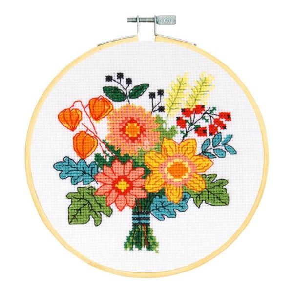 Kit broderie point de croix + tambour - Fleurs d'automne - Ø 15 cm - Photo n°2