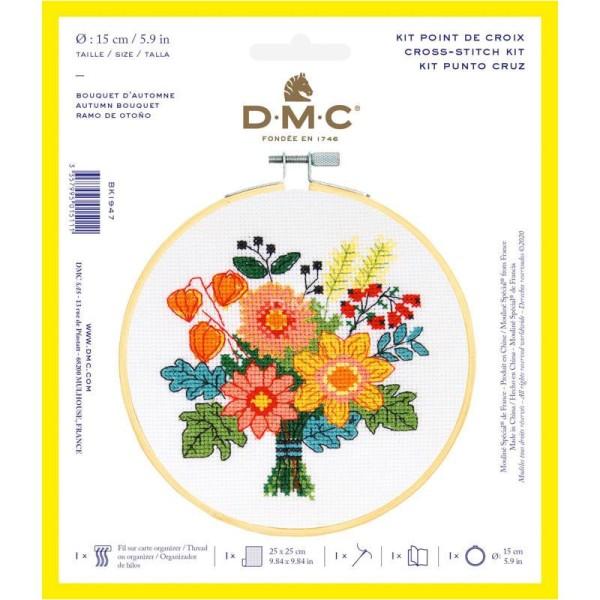 Kit broderie point de croix + tambour - Fleurs d'automne - Ø 15 cm - Photo n°1