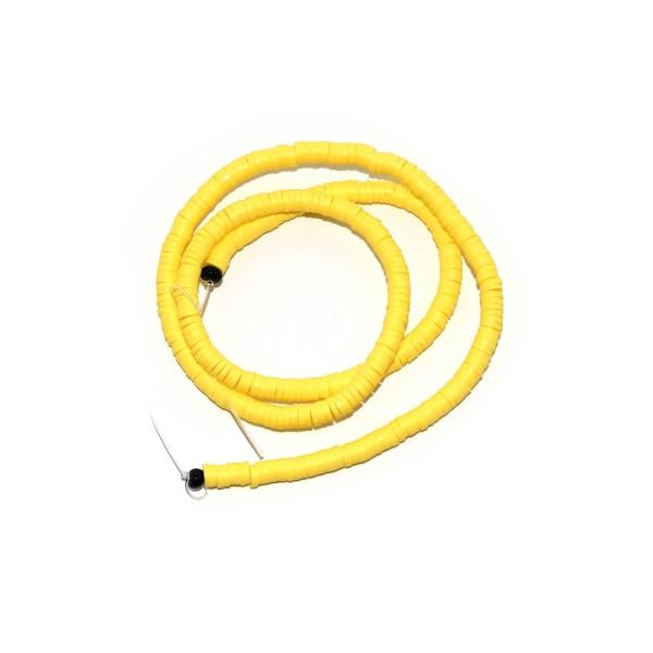 Perle rondelle heishi polymère jaune x380 - Photo n°1