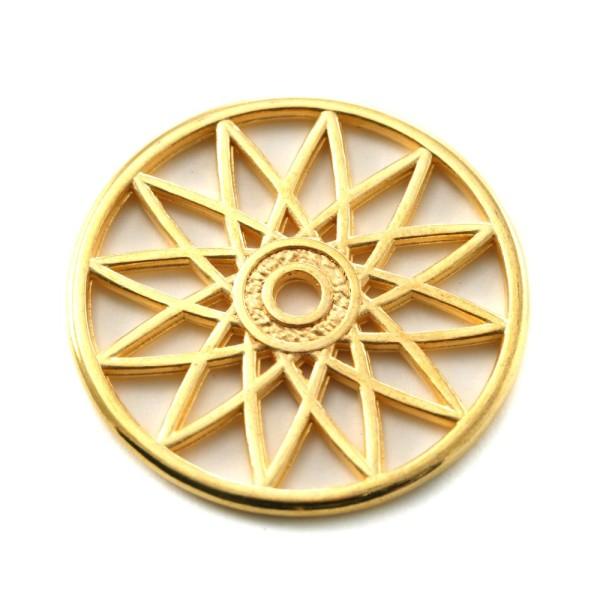 Pendentif attrape-rêves métal doré 31mm - Photo n°1