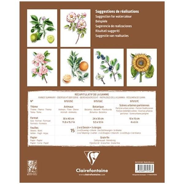 Bloc Aquarelle Prédessiné - Botanic - 24 x 30 cm - 15 feuilles - Photo n°2