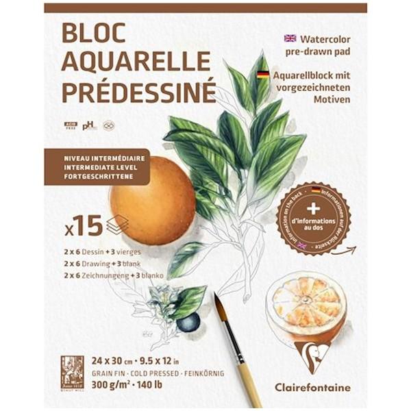 Bloc Aquarelle Prédessiné - Botanic - 24 x 30 cm - 15 feuilles - Photo n°1
