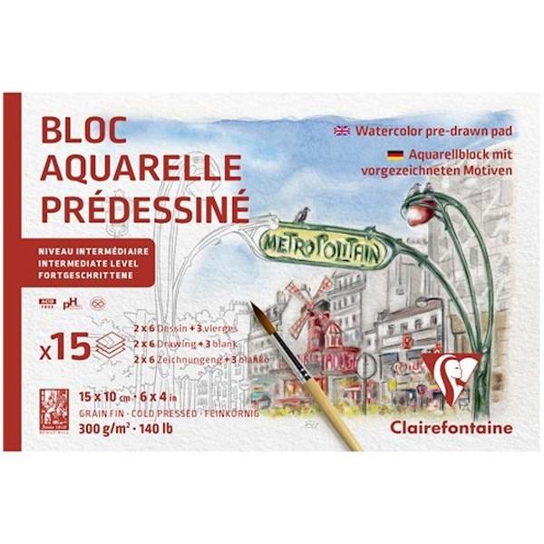 Bloc Aquarelle Prédessiné - Paris - 10 x 15 cm - 15 feuilles - Photo n°1