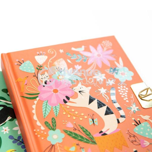Journal intime - 14 x 10,5 cm - Chats et fleurs - 240 pages - Photo n°3