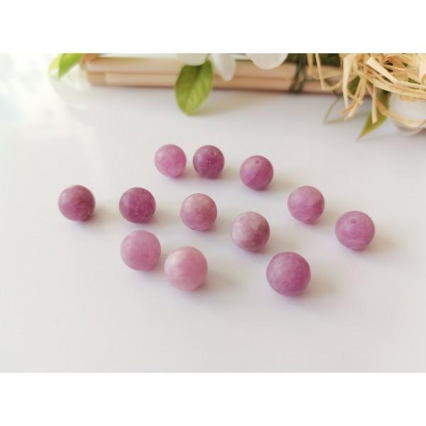 Perles jade 8 mm mauves x 10 - Photo n°1