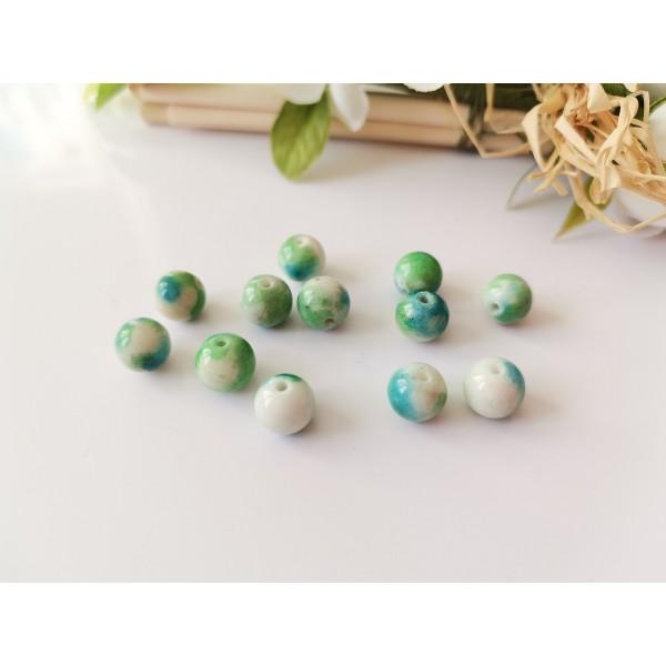 Perles jade 8 mm verte et bleue x 10 - Photo n°1