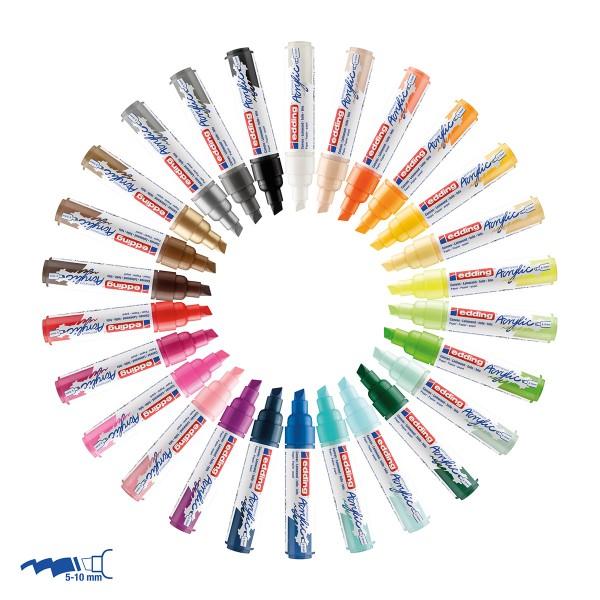 Marqueur Acrylic Edding 5000 - Pointe Large biseautée - Plusieurs coloris disponibles - Photo n°2