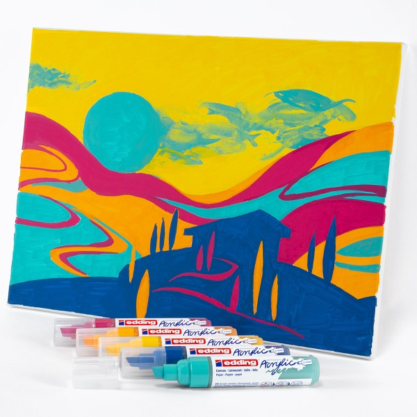 Set de Marqueurs Acrylique Edding 5000 - Pointe Large - Abstract - 5 pcs - Photo n°4