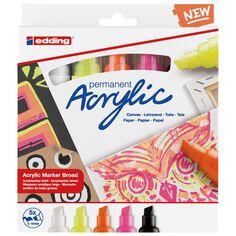 Set de Marqueurs Acrylique Edding 5000 - Pointe Large - Neon - 5 pcs