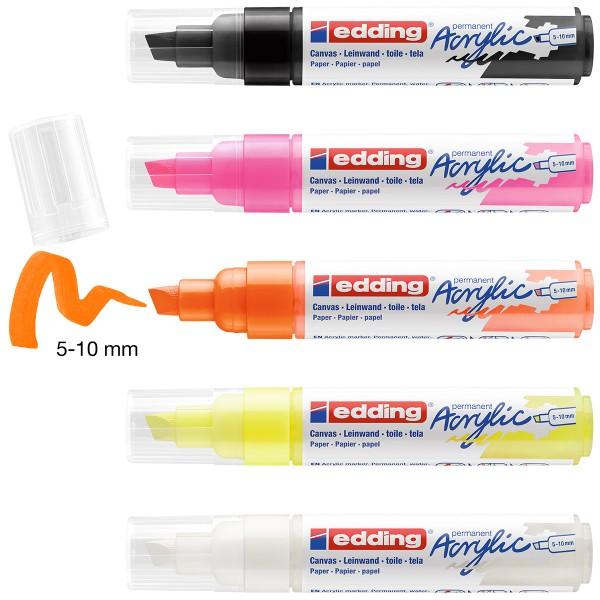 Set de Marqueurs Acrylique Edding 5000 - Pointe Large - Neon - 5 pcs - Photo n°2