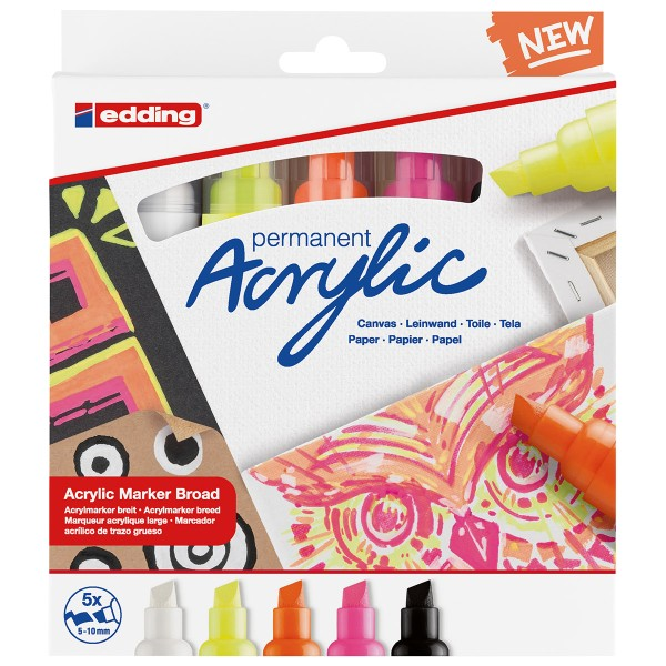 Set de Marqueurs Acrylique Edding 5000 - Pointe Large - Neon - 5 pcs - Photo n°1