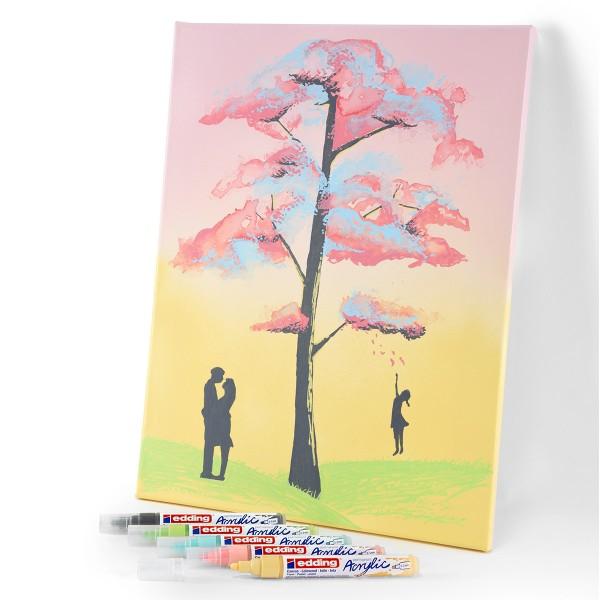 Set de Marqueurs Acrylique Edding 5100 - Pointe Moyenne - Pastel - 5 pcs - Photo n°3